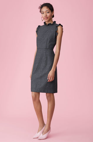 Speckled Herringbone Dress in Grey