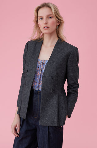 Speckled Herringbone Jacket in Grey