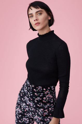 Smocked Rib Pullover in Black