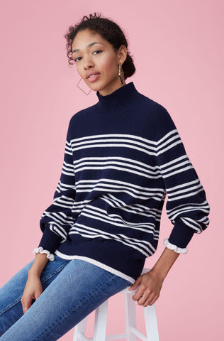 Striped Turtleneck Pullover in Navy Combo
