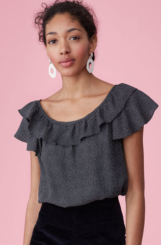 Sprinkle Dot Silk Ruffle Top in Black
