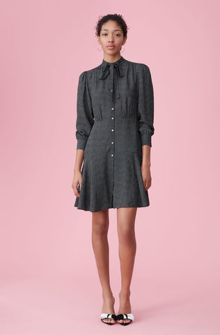 Sprinkle Dot Silk Dress in Black