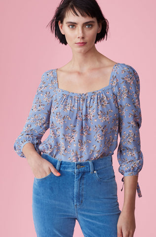Tilda Floral Silk Square Neck Top in Wedgewood Combo