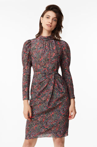Hudson Paisley Silk Dress in Berry Combo