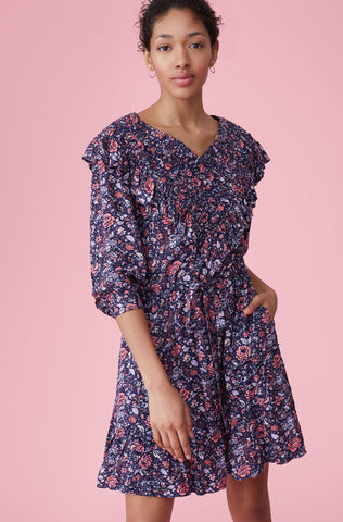 La Vie Toile Fleur Dress in Midnight Navy Combo