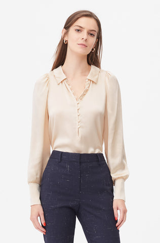Tailored Silk Charmeuse Top in Pearl