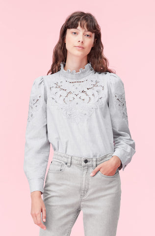 La Vie Leah Embroidered Top in Heather Grey