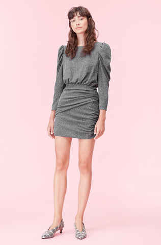 La Vie Mini French Terry Dress in Dark Charcoal Heather