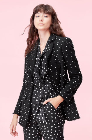 Boucle Dot Tweed Blazer in Black Combo
