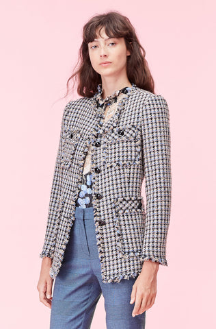Houndstooth Tweed Jacket in Robins Egg Combo