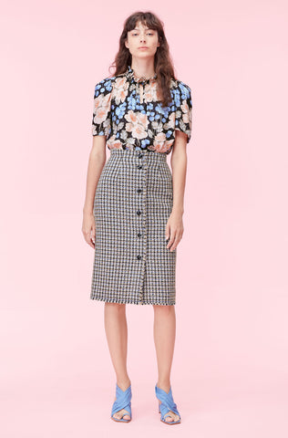 Houndstooth Tweed Skirt in Robins Egg Combo