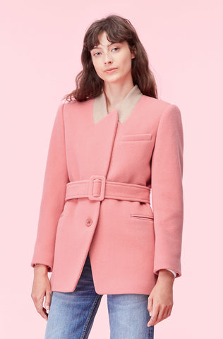 Plush Wool Coat in Rouge