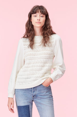 La Vie Mixed Media Pullover in Creamsicle