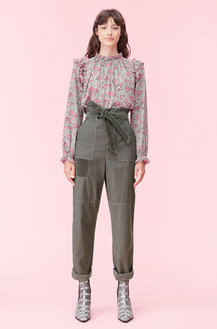 La Vie Twill Pant With Velvet in Zinc