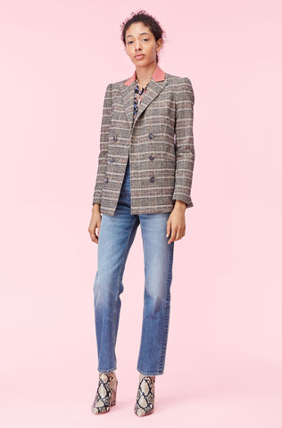 Boucle Plaid Blazer in Sand Combo