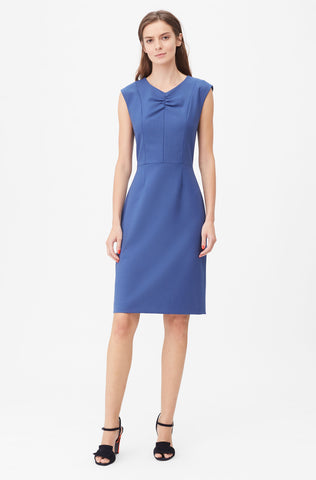 Tailored Gabardine Suiting Dress in Cobalt