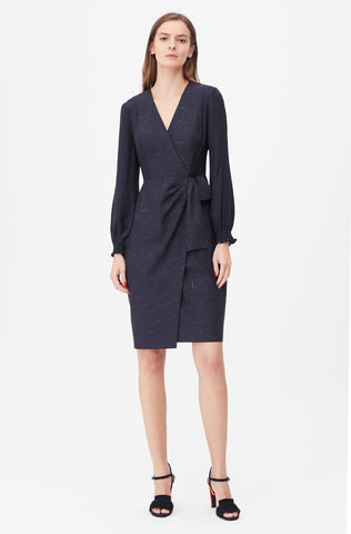 Tailored Cross Hatch Suiting Dress in Navy