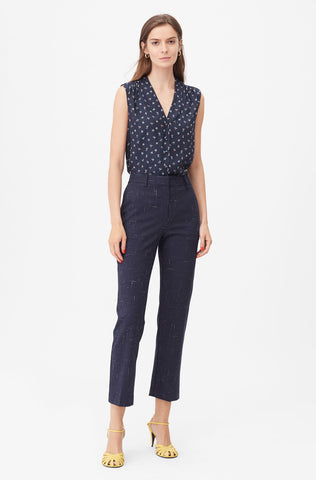 Tailored Cross Hatch Suiting Pant in Navy