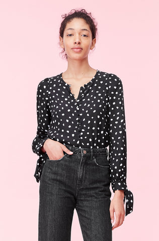 Nova Dot Jacquard Top in Black