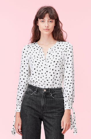Nova Dot Jacquard Top in Snow
