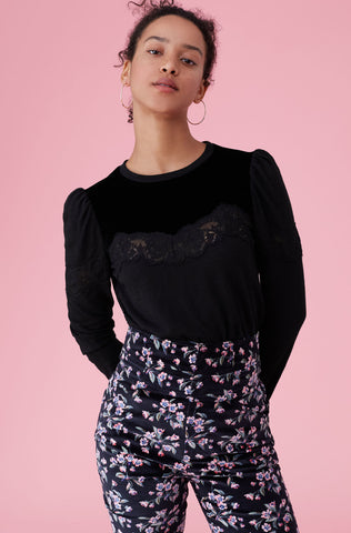 Velvet & Lace Jersey Top in Black Combo