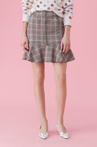 La Vie Plaid Ruffle Skirt in Pink Sand