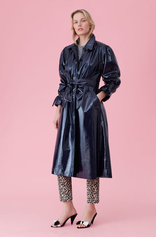 Laminated Trench Coat in Navy