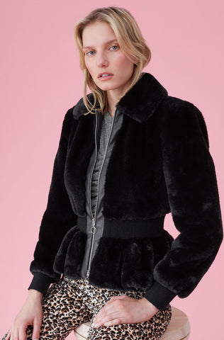 Faux Fur Jacket in Black