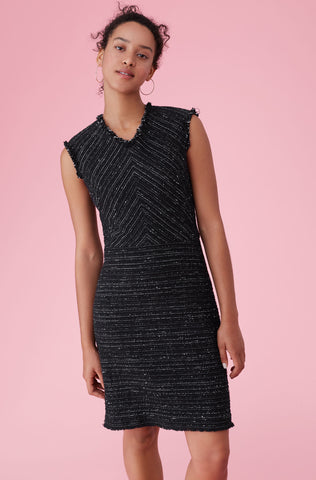 Stretch Tweed Dress in Black Combo