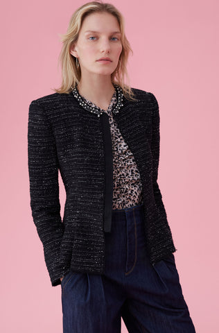 Stretch Tweed Jacket With Pearl Trim in Black Combo