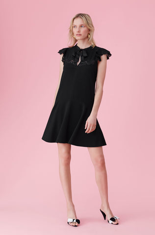 Crepe & Lace Tie Neck Dress in Black