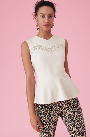Crepe & Lace Peplum Top in Cream