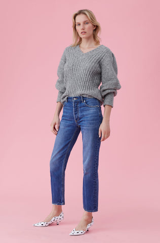 Lofty Alpaca Pullover in Heather Grey