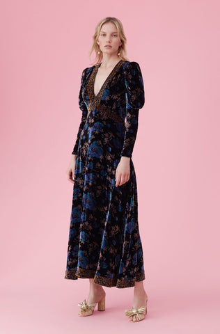 Solstice Floral Velvet Dress in Black Combo