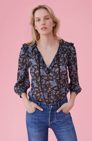 Solstice Floral Clip Top in Black Combo