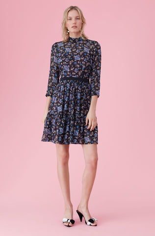 Solstice Floral Clip Dress in Black Combo