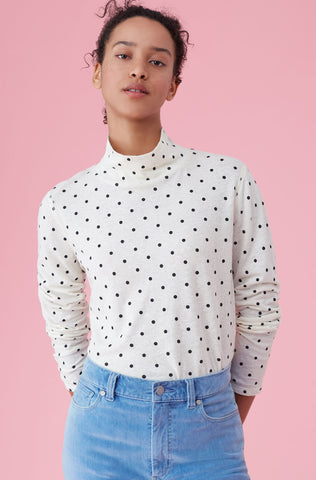 La Vie Estelle Dot Jersey Turtleneck Top in Pearl Combo