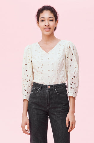 La Vie Winter Garden Embroidered Top in Creamsicle