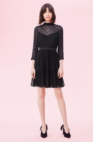 Velvet Dot Jacquard Dress in Black