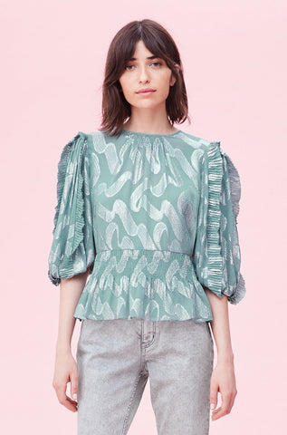 Ribbon Lurex Jacquard Top in Mist
