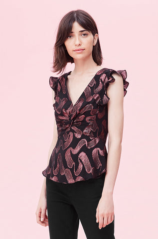 Ribbon Lurex Jacquard Twist Top in Black