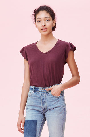 La Vie Washed Textured Jersey Tee in Mahogany