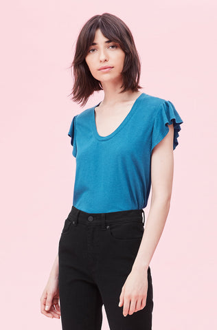 La Vie Washed Textured Jersey Tee in Sarcelle Blue