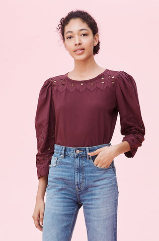 La Vie Embroidered Clean Jersey Top in Mahogany