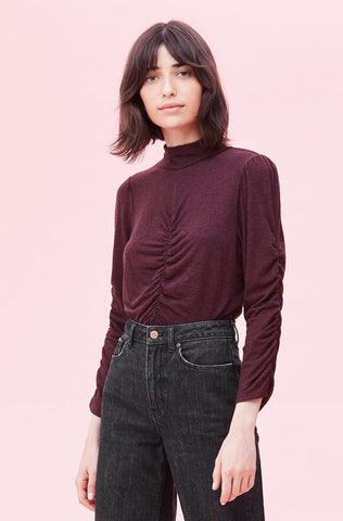 Ruched Warm Jersey Top in Plum Melange