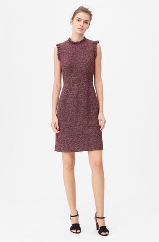 Tailored Knit Tweed Dress in Sunset Combo