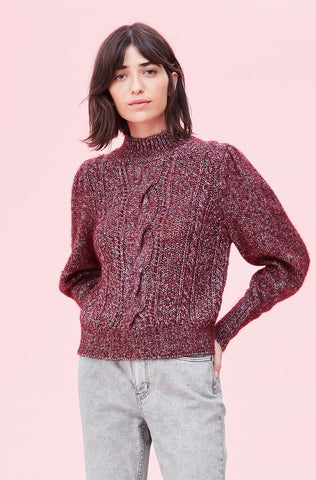 Soft Tweed Cable Pullover in Bordeaux