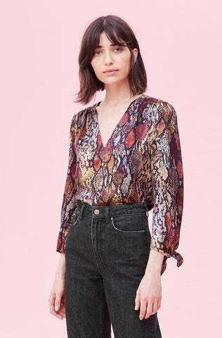 Watercolor Snake Silk V-Neck Top in Multi Combo
