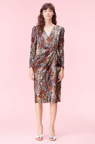 Watercolor Snake Silk Wrap Dress in Multi Combo