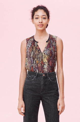 Watercolor Snake Lurex Top in Multi Combo